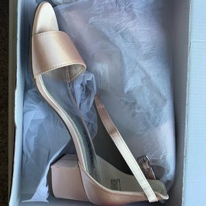 Pink Satin Block Heel